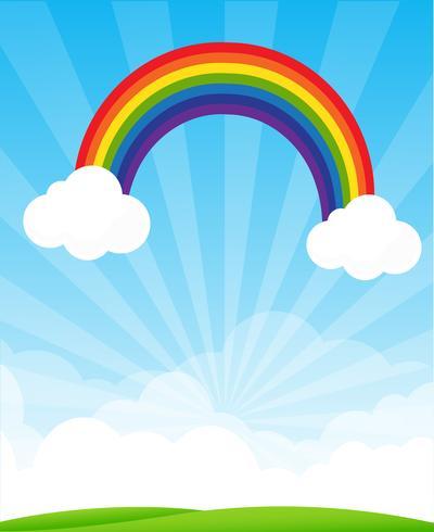 Sonnendurchbruch und blauer Himmel und Regenbogenhintergrund mit copyspace Vektorillustration