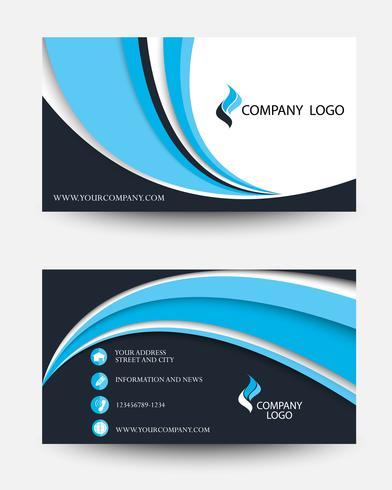 Modern bedrijfs creatief kaartsjabloon in zwart en blauw golfontwerp vector