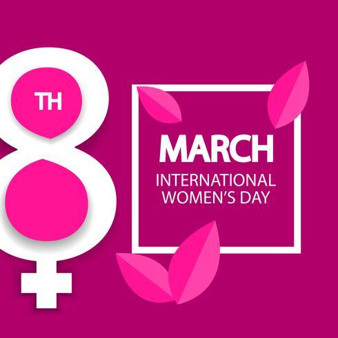 Frauentag, 8. März Feier Zeichen auf rosa Hintergrund