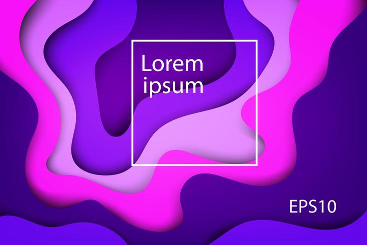 Coperture astratte moderne, onda variopinta e fondo viola di forme fluide