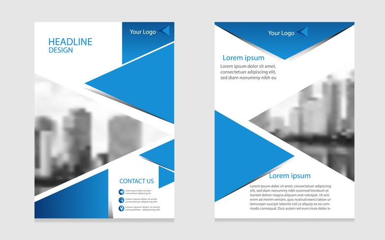 layout di brochure bianco e blu, modello di business flyer in stile moderno