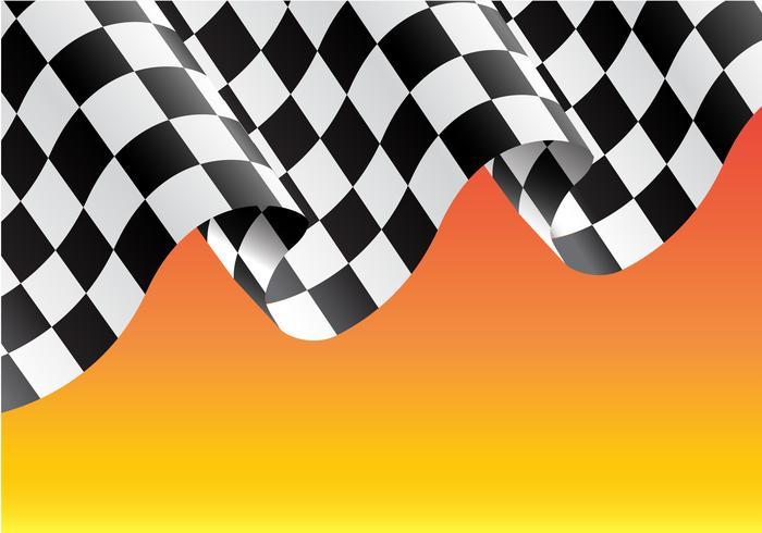 Kariertes Flaggenfliegen auf gelber Designrennenmeisterhintergrund-Vektorillustration.
