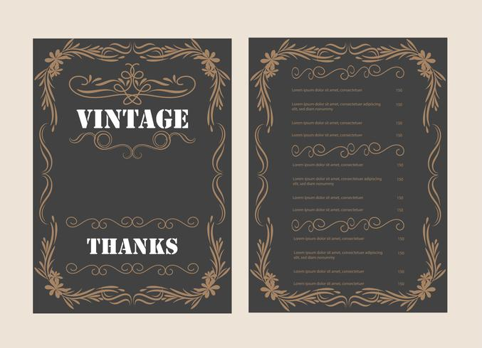 Vintage Ornament wenskaart Vector sjabloon en retro uitnodiging ontwerp