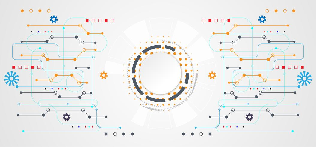 abstract technology concept circle white digital on hi tech white gray background vector