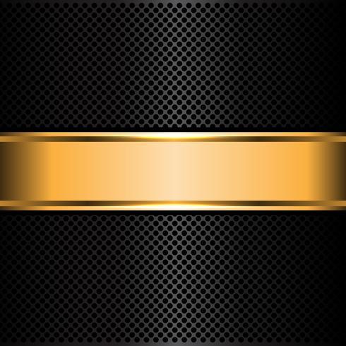 La malla metálica negra y el oro etiquetan el ejemplo del vector del fondo de la bandera.