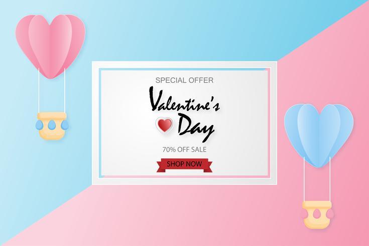 O fundo criativo da venda do dia de Valentim com papel do balão de ar quente cortou o fundo do estilo.