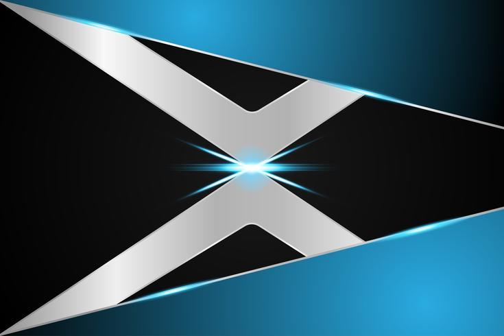 abstraktes Technologiehintergrundkonzept X-Symbol metallisches Blau auf zukünftigem Hightechdesign vektor