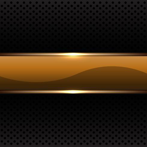Gold banner on black circle mesh pattern vector illustration.