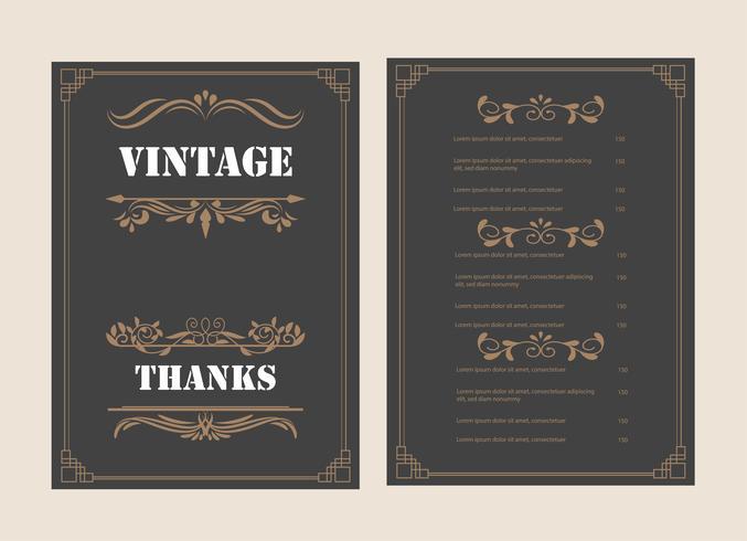Tarjeta de felicitación de adorno vintage Vector plantilla y diseño retro invitación