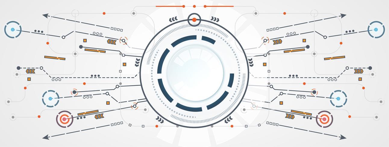 Tecnología abstracta círculo circuito conexión de enlace digital sobre fondo gris blanco de alta tecnología vector