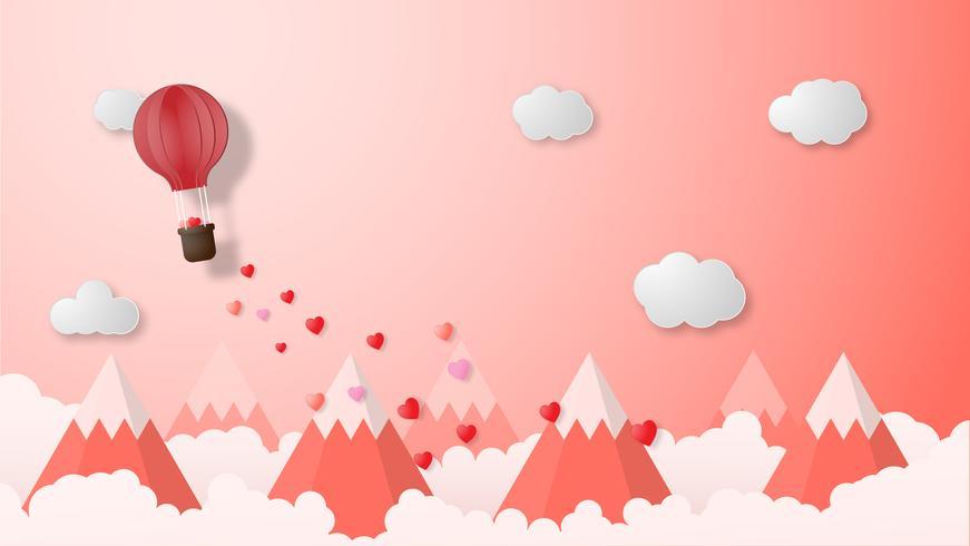 Creative Valentin jour fond illustration vectorielle papier coupé style