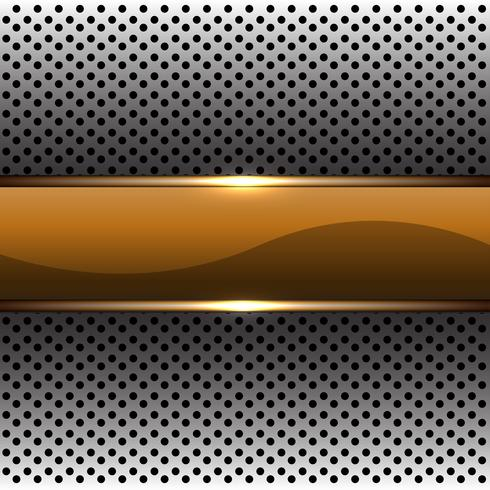 La bandiera astratta dell'oro sull'illustrazione futuristica moderna di vettore del fondo del modello della maglia del cerchio d'argento vector l'illustrazione.