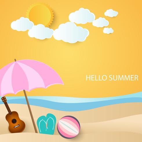 bola, guitarra e sandálias sob o guarda-chuva na praia, fundo de verão