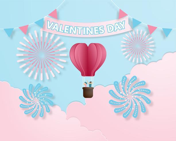 Lo stile variopinto creativo della carta dell'illustrazione di vettore di San Valentino della carta dell'invito ha tagliato lo stile.