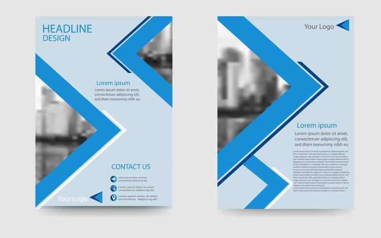 weißer und blauer Broschürenplan, Geschäftsfliegerschablone im modernen Stil