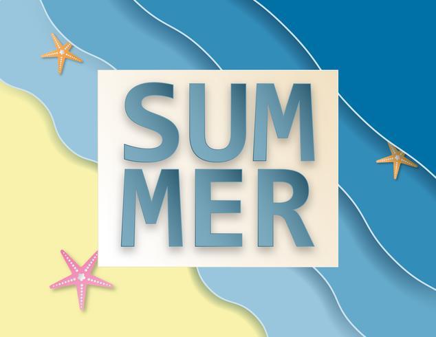 Il fondo creativo di vendita dell'estate dell'illustrazione con il mare e la spiaggia incartano lo stile del taglio.