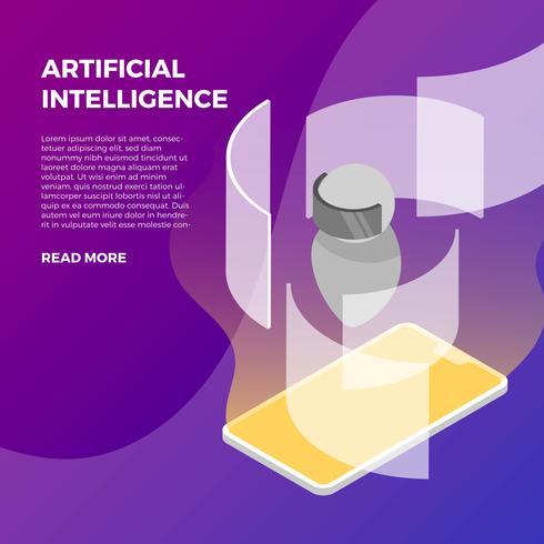 Smart klocka med artificiell intelligens vektor