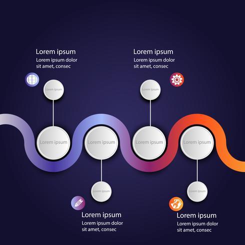 Företagsdata infographic, processchema med 4 steg, vektor och illustration