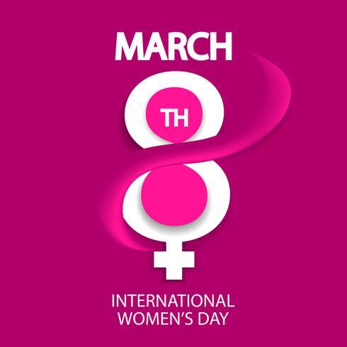 Celebración del día de la mujer, 8 de marzo, sobre fondo rosa.