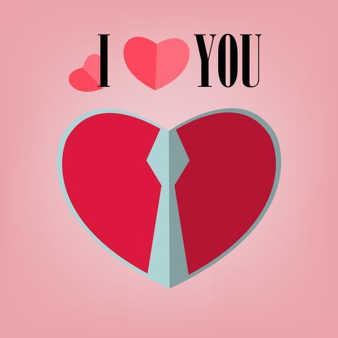 valentine paper art of man design red heart on soft pink background