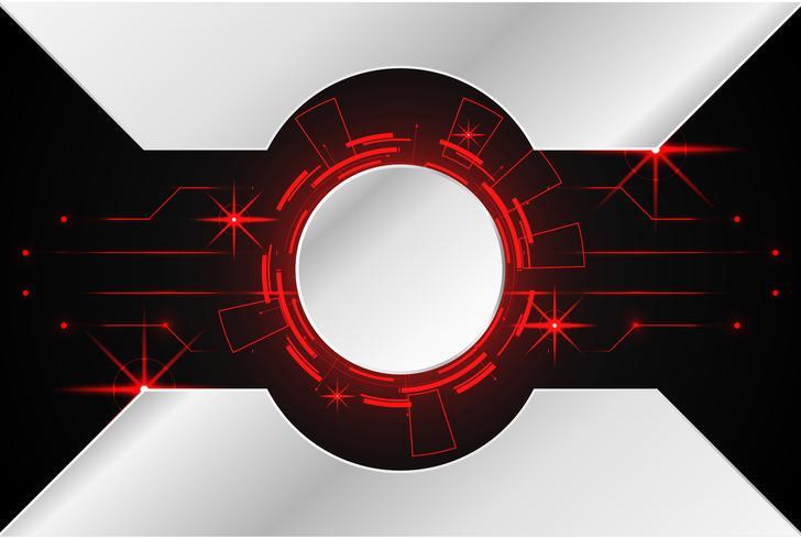 abstrakt teknologi bakgrund koncept cirkel krets digital metall röd på hi tech framtida design vektor