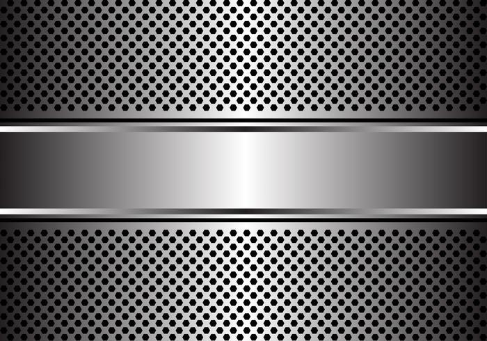 Bandera de plata abstracta en el ejemplo moderno de lujo del vector del fondo del diseño de la malla del hexágono.