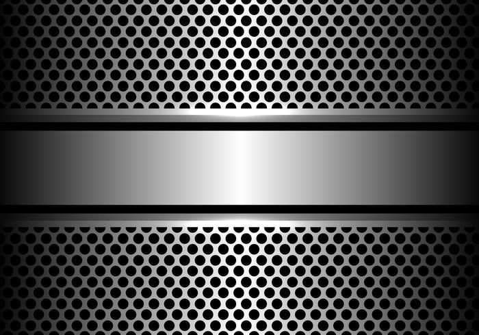 Bandeira de aço de prata abstrata na ilustração moderna luxuosa do vetor do fundo do projeto da malha do círculo.