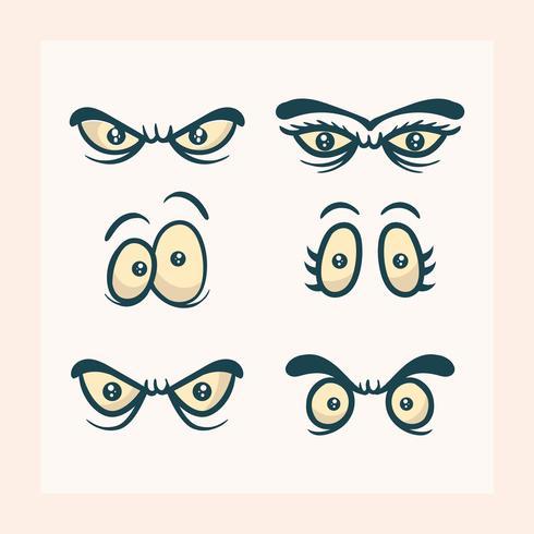 platt tecknad ögon vektor clipart samling