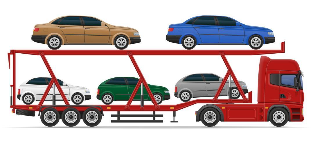 vrachtwagen oplegger voor transport van auto concept vectorillustratie
