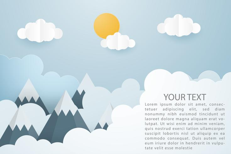 Creative vector illustration of mountain landscape with sun and clouds paper cut style.