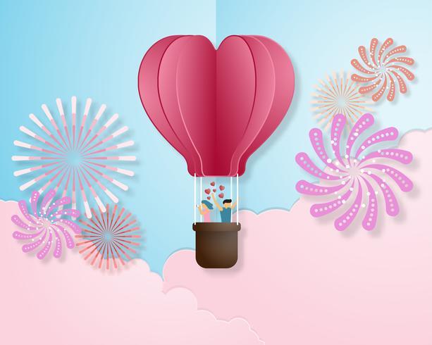 Creative love invitation card Valentine's day vector illustration paper cut style background.