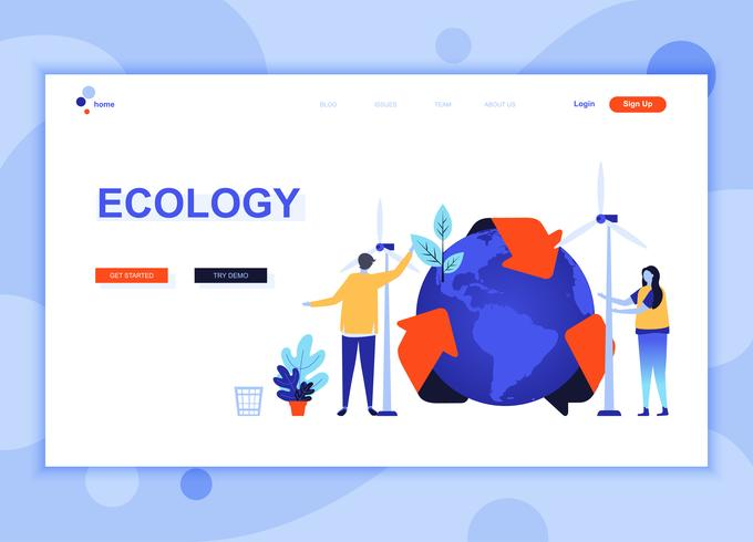 Conceito de modelo de design moderno web página plana de ecologia terra decorada personagem de pessoas para o site e desenvolvimento de site móvel. Modelo de página de destino plana. Ilustração vetorial