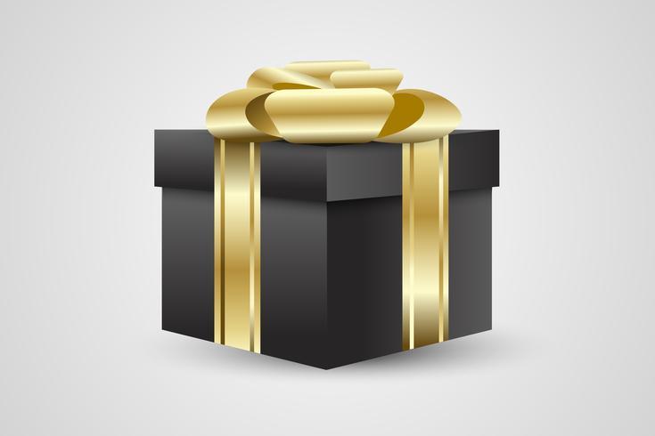 confezione regalo nero o presente su sfondo bianco con nastro d'oro
