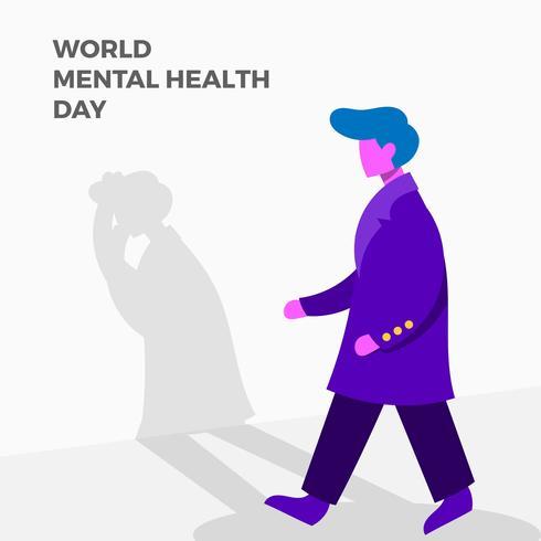 Ilustração de cartaz de vetor de saúde mental plana