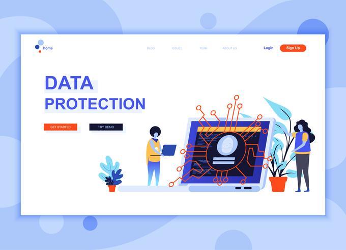 El concepto moderno de la plantilla de diseño de página web de Protección de datos decoró el carácter de las personas para el desarrollo de sitios web y sitios web móviles. Plantilla de página de aterrizaje plana. Ilustracion vectorial
