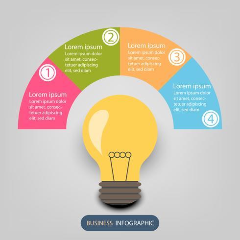 Infographie de données commerciales, diagramme de processus en 4 étapes, élément de vecteur et d'illustration
