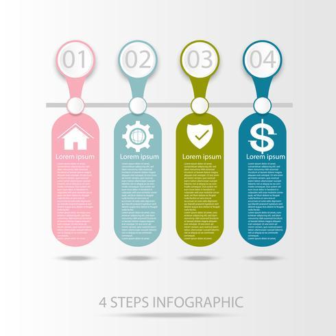 Elemento de infografía de datos empresariales, tabla de proceso con 4 pasos.