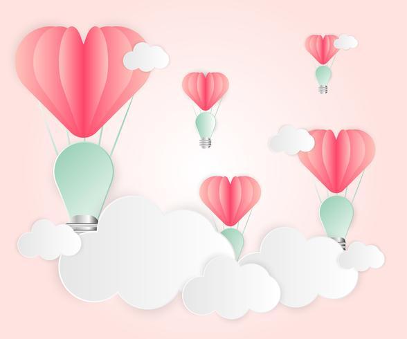 Van het de gloeilampenhart van de liefdekaart het abstracte roze van de de overlappingsstijl roze de ballonrood drijvend op de lucht