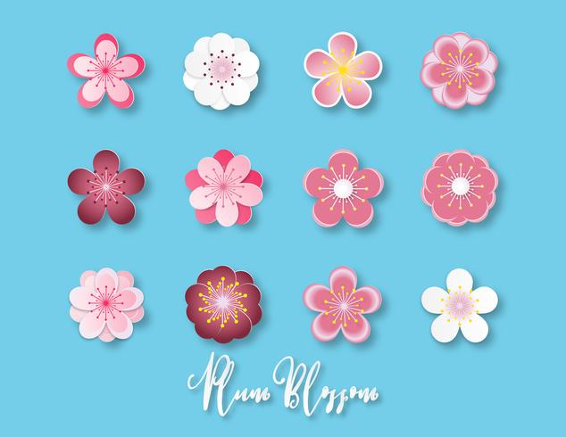 Creative vector illustration collection of plum blossom paper cut style isolated on blue background.