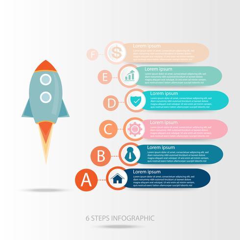 Infographic bedrijfsgegevens, procesgrafiek met 6 stappen, vector en illustratie