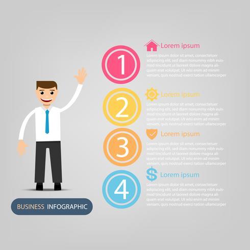 Företagsdata infographic, processchema med 4 steg, vektor och illustrationelement
