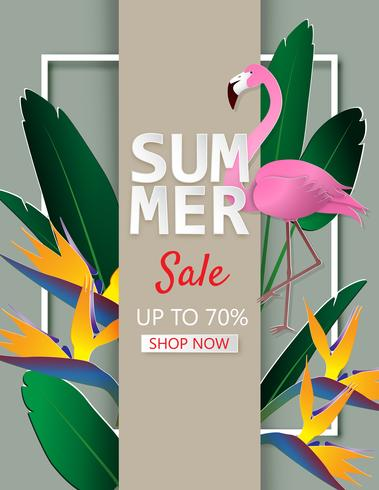 Creative illustration summer sale background with tropical leaves, flower and flamingo in a paper cut style.
