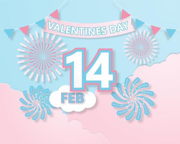 Creatieve kleurrijke uitnodiging kaart Valentijnsdag vector illustratie papier knippen stijl.