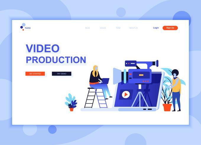 Il concetto di modello di progettazione di pagina web piatto moderno di produzione video ha decorato il carattere di persone per lo sviluppo di siti Web e siti Web mobili. Modello di pagina di destinazione semplice. Illustrazione vettoriale
