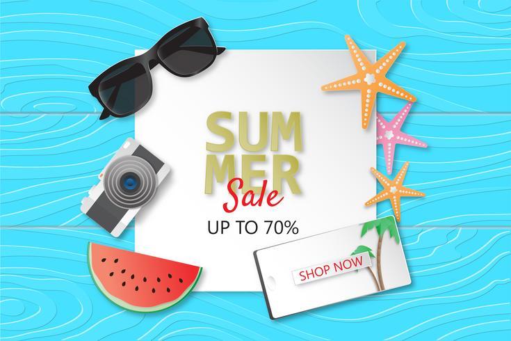 Creative illustration summer sale banner background paper cut style.