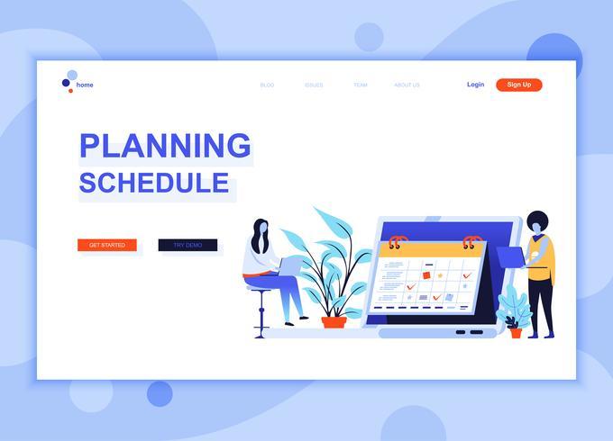 Il concetto di modello di progettazione di pagina web piatto moderno di pianificazione programma decorato carattere persone per il sito Web e lo sviluppo del sito web mobile. Modello di pagina di destinazione semplice. Illustrazione vettoriale