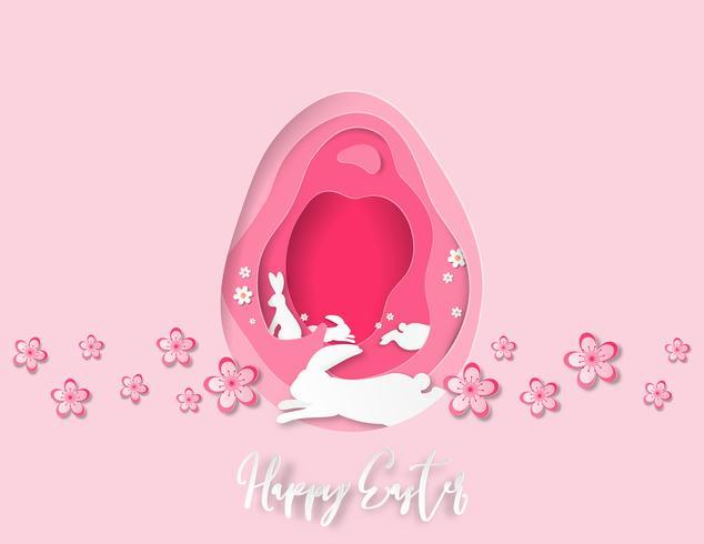 La carta creativa dell'illustrazione ha tagliato il fondo felice di Pasqua.