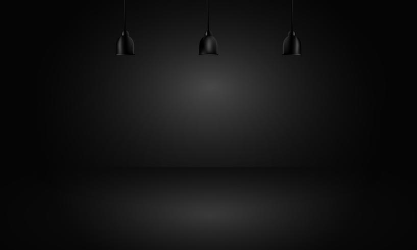 black background with light boxes on ceiling, abstract gradient studio and wall texture vector