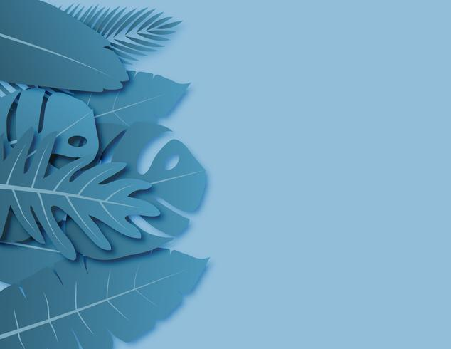 Tropical leaves with blue green pastel colors paper cut style on background with empty space for advertising text.
