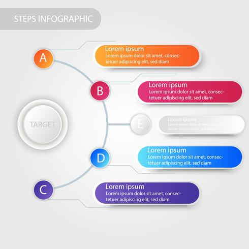 Business data infographic, process chart with 5 steps, vector and illustration